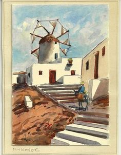 Mykonos ΜΎΚΟΝΟΣ Original Watercolor Vintage Signed Greek Island   eBay