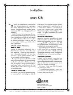 ...How to Deal with Angry #Kids. #Parenting #Tips from Love and Logic - DIY Parenting