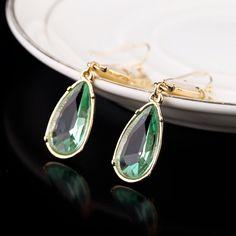 Light-Colored Artificial Gemstone Dangle Earrings