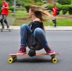 longboard. girl. slide