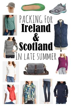 What to pack when travelling to Ireland and Scotland in Late Summer (the last few days of August and the first two weeks of September). Scotland Vacation, Ireland Vacation, Scotland Travel, Ireland Travel, Scotland Trip, Dublin Ireland, Edinburgh Scotland, Traveling To Ireland, Travelling Europe