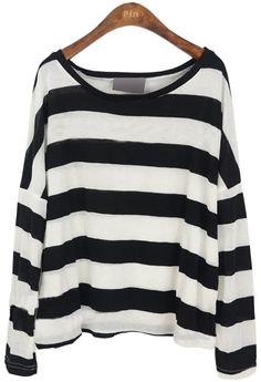 Shop Black White Stripes Batwing Long Sleeve Knitted T-shirt online. Sheinside offers Black White Stripes Batwing Long Sleeve Knitted T-shirt & more to fit your fashionable needs. Free Shipping Worldwide!
