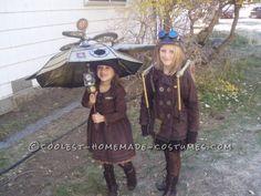 I love that umbrella! Two Steampunk girls, children