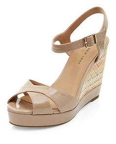 Wide Fit Stone Cross Strap Front Textured Wedges  | New Look
