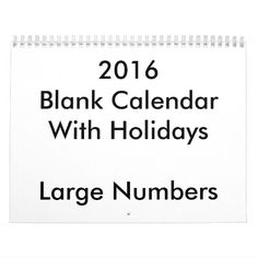 2016 Blank Calendar With Holidays Large Numbers