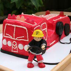 fire engine birthday cake Third Birthday, Birthday Cake, Birthday Parties, Birthday Ideas, Fire Engine Cake, Party Cakes, Fire Trucks, Party Time, Birthdays