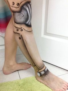 Recreated robot leg make-up found on /r/pics. - Imgur Robot Makeup, Fx Makeup, Robot Costumes, Halloween Costumes, Robot Leg, King Outfit, Performance Makeup, Drag King, Character Makeup