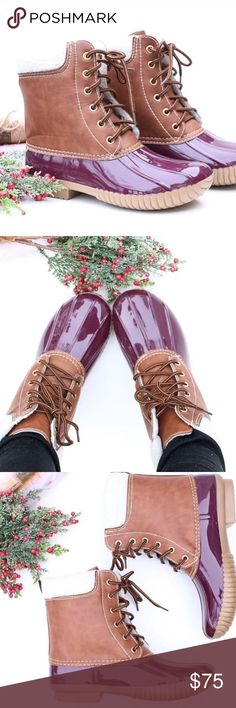 """Wine Duck Boots These gorgeous wine and brown duck boots are perfect for those snowy and rainy Winter days! Waterproof rubber base and sole with a lace up front. Cozy Sherpa cuff and interior lining.  Heel Height: 1"""" . Runs true to size. *PLEASE DON'T USE MY PHOTOS TO RESELL  * Before asking, please note whatever sizes are listed below are all I currently have in stock.   ▫️Add to Bundle"""" to add more items in my closet or """"Buy"""" to checkout here with your size.  ↓Follow me on Instagram ↓…"""