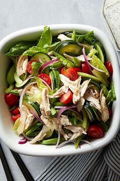 The buttermilk dressing for this easy and healthy chicken salad recipe calls for using dried herbs, which gives you a more intense flavor blast and cuts down on prep time. But if you prefer the flavor of fresh, use 3 tablespoons fresh for each 1 tablespoon dried. #salads #saladrecipes #healthysalads #saladideas #healthyrecipes