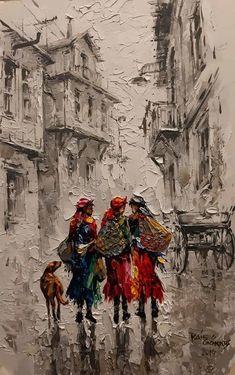 Oil painting by ''Raif Gökkus'' Turkish painter . Figure Painting, Painting & Drawing, Watercolor Paintings, Art And Illustration, Inspiration Art, Palette Knife Painting, Texture Painting, Islamic Art, New Art