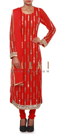 Red straight suit adorn in mirror and sequin embroidery only on Kalki Mirror Work Kurti, Mirror Work Dress, Sequin Embroidery, Embroidery Suits, Bollywood Dress, Bollywood Fashion, Indian Dresses, Indian Outfits, Mirror Blouse Design