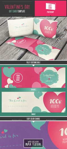 Thisprofessional and creative Valentines Day Gift Card / Coupon Template is a perfect idea as Valentines Day promotion for shops or any other business activity. Elegant, but fresh, this template its very easy to customize. Features:Unique Layouts 2 Sides Photoshop File Fully Editable Easy color change 175,5 cm   0,3 cm bleed 300 dpi CMYK Print Rea