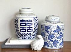 Pot de gingembre chinois Vintage bleu blanc en céramique pot de gingembre poisson Koi Chinoiserie Chic