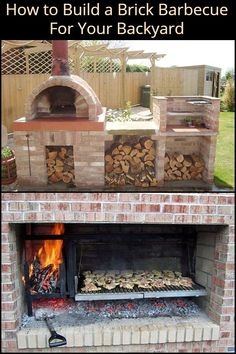 Build your own brick barbecue This Easy to Build Brick BBQ is a Great Project For The DIYer Who Doubles as a Serious Chef! Outdoor Bbq Kitchen, Pizza Oven Outdoor, Outdoor Kitchen Design, Outdoor Cooking, Brick Oven Outdoor, Outdoor Barbeque, Brick Built Bbq, Brick Grill, Built In Bbq