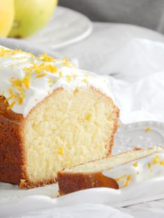 Lemon cake 🍋 by Official Food Bible Homemade Cake Recipes, Almond Cakes, Pastry Recipes, Frosting Recipes, Cakes And More, Coffee Cake, Yummy Cakes, Sweet Recipes, Food To Make