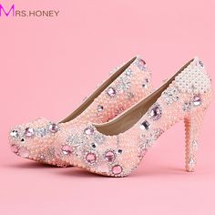 82.31$  Buy here - http://ali05c.worldwells.pw/go.php?t=32589377601 - Women Pink Elegant Fashion Crystal Pearl Tassel Diamond High Heel Pumps Platform Wedding Shoes For Bride Girl Formal Dress Shoes 82.31$