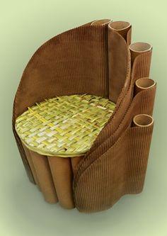 Eco friendly cardboard chair design by Paulina Plewik Cardboard Chair, Diy Cardboard Furniture, Cardboard Design, Paper Furniture, Cardboard Paper, Cardboard Crafts, Furniture Making, Cardboard Playhouse, Chair Design