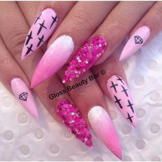 Dark and light pink 3D nail ideas Nail ideas found on Polyvore