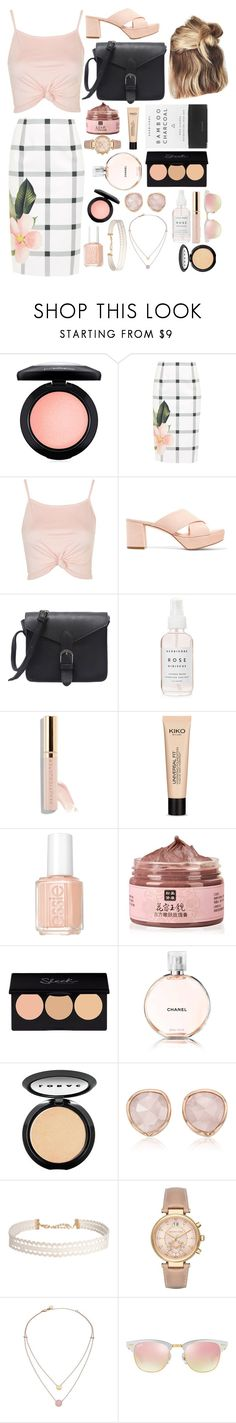 """""""Checkered Skirt"""" by missmarvy ❤ liked on Polyvore featuring MAC Cosmetics, Ted Baker, Topshop, Mansur Gavriel, Herbivore, Essie, Chanel, LORAC, Monica Vinader and Humble Chic"""