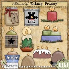 Country Candles - Primitive Country Clipart...