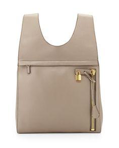 V2H4V TOM FORD Alix Calfskin Small Backpack, Warm Taupe
