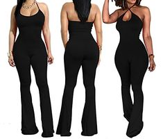 b5e4999387 Prettyever Jumpsuits-apparel Prettyever Stylish Women s Clothing Hanging  Neck Strap Body Pants 4 Color Flare