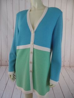 St John Collection Blazer Sweater 8 Wool Rayon Santana Knit Button Front Chic #StJohnCollection #BlazerSweater