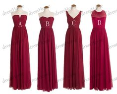 Long Burgundy Bridesmaid Dress Wine Red Bridesmaid by DressHome, $119.99