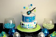 's Birthday / Rock Star Guitar - Rock Star Birthday at Catch My Party Rockstar Birthday, Birthday Fun, First Birthday Parties, Birthday Party Themes, Birthday Cakes, Birthday Ideas, Drum Cake, Guitar Cake, Guitar Party