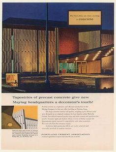 1961 Maytag Company Headquarters Building Newton Iowa Portland Cement Print Ad