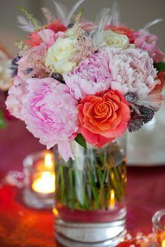 Peony roses have such a short season, which makes them a Summer wedding favourite. This fabulous bridal bouquet featuring pink peony roses, cream and orange roses, astrantia and astilbe gives us a real Summer feeling. Summer Wedding Bouquets, Flower Bouquet Wedding, Summer Weddings, Bridal Bouquets, Astrantia, Peony Rose, Astilbe, Orange Roses, Pink Peonies