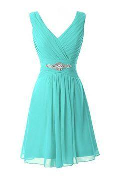 Manfei Women's V-Neck Chiffon Short Bridesmaid Dress Party Dress Turquoise Size 2 Manfei http://www.amazon.com/dp/B01CL6KHNU/ref=cm_sw_r_pi_dp_yjI3wb0354TNY