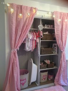 Baby girl bedroom, wardrobe ideas, built in wardrobe. Pink, white and grey style nursery.