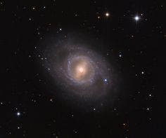 M95 also catalogued as NGC 3351 is a barred spiral galaxy about 38 million light-years from Earth, appearing in the constellation Leo. A  bonus, follow along the spiral arm unwinding down and to the right to see the slightly bluish supernova SN 2012aw, discovered on March 16, 2012.