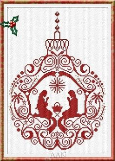 Manger Ornament christmas cross stitch chart AAN Alessandra Adelaide Needleworks