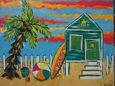 Bright Beach Scene with Beach House Surf by joiepetitedesigns, $75.00