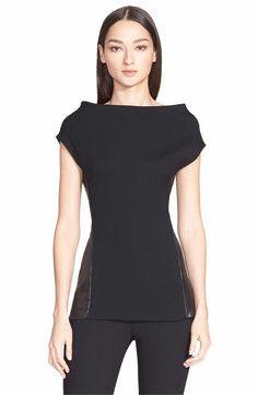 neckline treatment. Main Image - Donna Karan New York Cap Sleeve Stretch Crepe Top