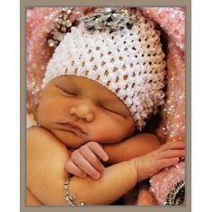 Girls Baby white waffle crochet hat 0-12 months $5.00