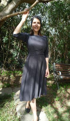 Classic dot printed midi dressmodest lookmodest by TAMARLANDAU, $110.00