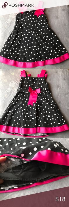 BONNIE JEAN black and pink polka dot dress Black with white polka dots and pink ribbons and bows. Zips in back and ribbon snaps in back. Layered. Guc. Bonnie Jean Dresses