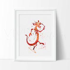 Mushu Print, Mulan Watercolor Nursery Art Print, Kids Bedroom Wall Art Decor, Birthday Gift, Not Framed, No. 173  ❊ ❊ ❊ ❊ ❊ ❊ ❊ ❊ ❊ ❊ ❊ ❊ ❊ ❊ ❊ ❊ ❊