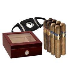 Deluxe Humidor Cutter and Cigar Sampler Gift Set ($83)
