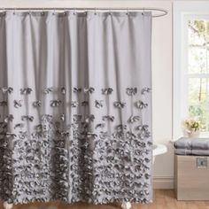 Juliet Bow 72-Inch x 72-Inch Shower Curtain in Grey - BedBathandBeyond.com--This Juliet shower curtain adds a touch of sophistication and romance with the handcrafted flowers which decorate the silk charmeuse surface.