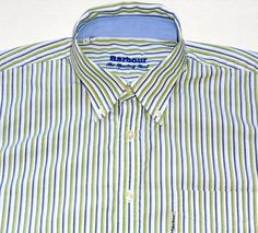 BARBOUR Men's Sporting Shirt Green Blue Striped Button Front L LARGE Long Sleeve #Barbour #ButtonFront