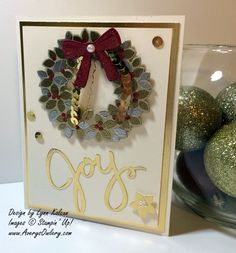 SU! Wondrous Wreath stamp set and Framelits; Very Vanilla, Cherry Cobbler and Brushed Gold card stock; gold foil; Gold and Silver Encore ink; gold, silver and Cherry Cobbler embossing powder - Lynn Kolcun
