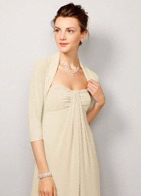 3/4 sleeve sheer chiffon shrug available in 21 colors from David's Bridal. Great idea for cooler days of a Fall wedding!
