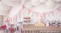 pink and gray chevron garland
