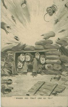 """'Bruce Bairnsfather Postcard """"Where Did That One Go To"""" ' Postcards - Jane - Picasa Web Albums World War One, First World, Verb Words, Military Humor, Caricatures, Wwi, Warfare, Trench, Postcards"""