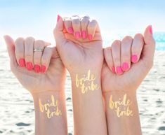 Bachelorette Party Tattoo, Team Bride Tattoo © Set of Bachelorette Tattoos, Gold Bachelorette Temporary Tattoos, Gold Bridal Party Favor - Bachelorette Party Tattoo! This Team Bride Tattoo © Set of 12 Bachelorette Tattoos make the perfec - Beach Bachelorette, Bachelorette Party Favors, Unique Bachelorette Party Ideas, Hen Party Favours, Bachelorette Party Decorations, Bride Tribe Tattoo, Gold Temporary Tattoo, Gold Tattoo, Tattoo Set