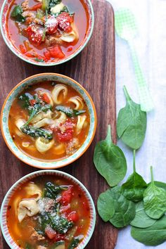 ValSoCal: Spicy Italian Sausage and Tortellini Soup with Spinach